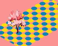 Ensemble tiré par la main et d'aquarelle d'arbre Image libre de droits