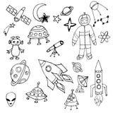 Ensemble tiré par la main noir et blanc d'objets de l'espace illustration de vecteur