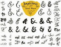 Ensemble tiré par la main d'esperluètes et de mots de ralliement pour des conceptions de logo et de label Collection de symboles  Images stock