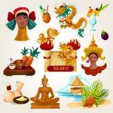 Ensemble touristique de la Thaïlande illustration de vecteur