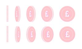 Ensemble tournant de pièces de monnaie de livre britannique, animation prête illustration stock