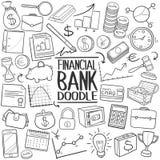 Ensemble traditionnel d'aspiration de main d'icône de griffonnage de banque financière illustration stock