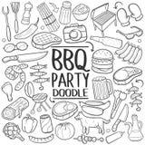Ensemble traditionnel d'aspiration de main d'icône de griffonnage de partie de barbecue de BBQ illustration libre de droits