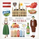 Ensemble traditionnel de collection de symboles de l'Autriche illustration libre de droits