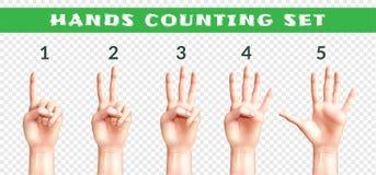 Ensemble transparent de compter des mains illustration stock
