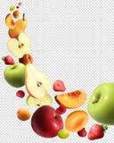 Ensemble transparent réaliste en baisse de fruits illustration de vecteur