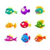 Ensemble tropical de poissons de bande dessinée colorée illustration libre de droits