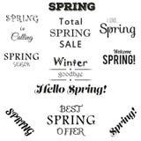 Ensemble typographique de ressort Images stock