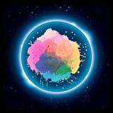 Ensemble unique multicolore de résumé de couleurs en cercle rougeoyant dans une illustration foncée de fond illustration stock