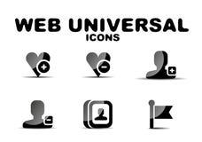 Ensemble universel d'icône de Web brillant noir Photo libre de droits