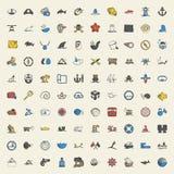 Ensemble universel d'icônes de la mer 100 pour le Web et l'appartement mobile Photos stock