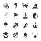 Ensemble universel d'icônes de la mer 16 pour le Web et le mobile Image stock