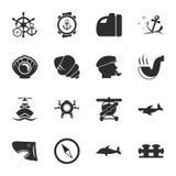 Ensemble universel d'icônes de la mer 16 pour le Web et le mobile Photographie stock libre de droits