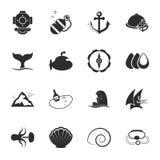Ensemble universel d'icônes de la mer 16 pour le Web et le mobile Photo libre de droits
