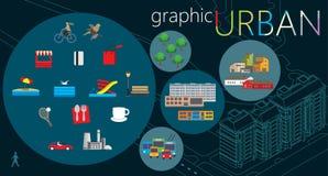 Ensemble urbain de graphique illustration stock