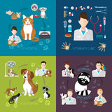 Ensemble vétérinaire d'appartement avec la clinique de médecine d'hôpital de chat et de chien d'isolement sur le fond Photos stock