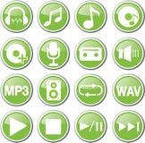 ensemble vert audio d'icône Photo libre de droits