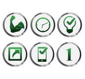 Ensemble vert crédible d'icône en métal illustration stock