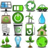 Ensemble vert d'icône d'environnement Images libres de droits