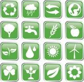 ensemble vert d'icône d'environnement Photos libres de droits
