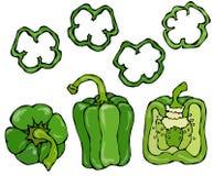 Ensemble vert de Bell Peper Moitié de paprika et d'anneaux doux des coupes de poivre Légumes crus mûrs frais Cuisine saine de Veg Photo stock
