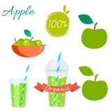 Ensemble vert de vecteur de fruit et de jus de pommes Illustration Stock
