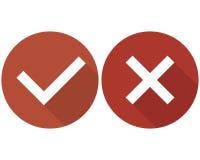 Ensemble, vert et rouge d'icônes de liste de case à cocher d'isolement sur le fond blanc, illustration libre de droits