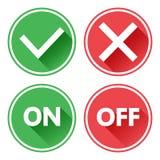 Ensemble vert et rouge de boutons Oui et aucuns rep?res de contr?le En marche et en arr?t Vecteur illustration libre de droits
