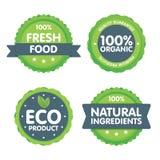 Ensemble vert moderne d'insigne d'eco label organique de nourriture fraîche de 100 pour cent Illustration d'autocollant Images stock