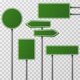 Ensemble vert vide réaliste de vecteur de rue et de panneaux routiers illustration stock