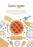 Ensemble vertical de bannière d'accessoires pour la cuisine et la boulangerie Illustration Libre de Droits