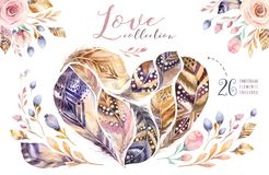 Ensemble vibrant de plume de peintures tirées par la main d'aquarelle Le style de Boho fait varier le pas de la forme de coeur Il Photographie stock