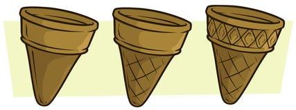 Ensemble vide d'icône de vecteur de cornet de crème glacée de bande dessinée illustration de vecteur