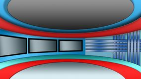 Ensemble virtuel de studio d'actualités de TV photographie stock libre de droits