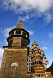The ensemble of wooden architecture in Kizhi island. Churches Transfiguration and the Intercession of the Virgin. stock images