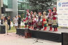 An ensemble of young Ukrainians. Children's vocal choreographic ensemble Pervotsvit at a concert in Kiev Palace of children and youth. Kiev. September 2015 Stock Photos