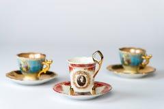 Ensembles antiques de fantaisie de tasse de thé Images stock