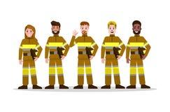 Ensembles d'équipe de lutte contre l'incendie dans l'uniforme jaune charac plat de pompier illustration de vecteur