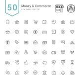 Ensembles d'icône d'argent et de commerce 50 ligne icônes de vecteur Image libre de droits