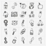 Ensembles d'icône de bébé de griffonnage Images stock