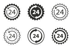 24 ensembles d'icône de service d'heure Images stock