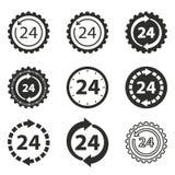 24 ensembles d'icône de service d'heure Photo libre de droits