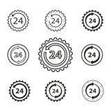 24 ensembles d'icône de service d'heure Images libres de droits