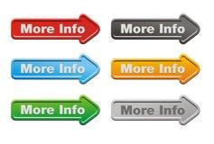 Ensembles de bouton de plus d'informations - boutons de flèche Photographie stock