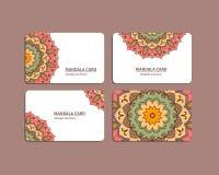 Ensembles de cartes de mandala Photos libres de droits