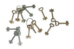 Ensembles de clés, vieux et rouillé Isolement sur une blancheur photographie stock