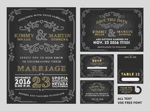 Ensembles de conception d'invitations de mariage de tableau de vintage Photographie stock