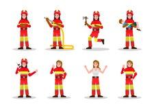 Ensembles de lutte contre l'incendie Conception de personnages de femme du feu dans les beaucoup pose illustration stock