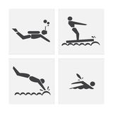 Ensembles de natation d'exercice d'icône Images libres de droits