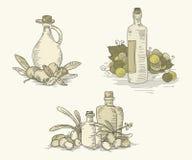Ensembles de nourriture de vintage avec des bouteilles Photo stock